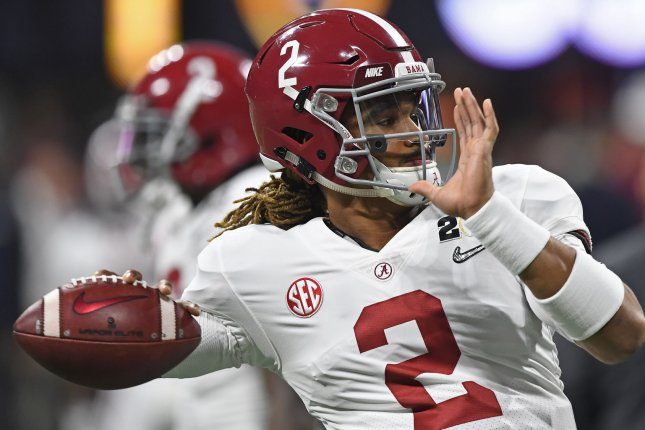 Former Alabama quarterback Jalen Hurts warms up prior to the College Football Playoff National Championship at Mercedes-Benz Stadium on January 8 in Atlanta. Photo by David Tulis/UPI