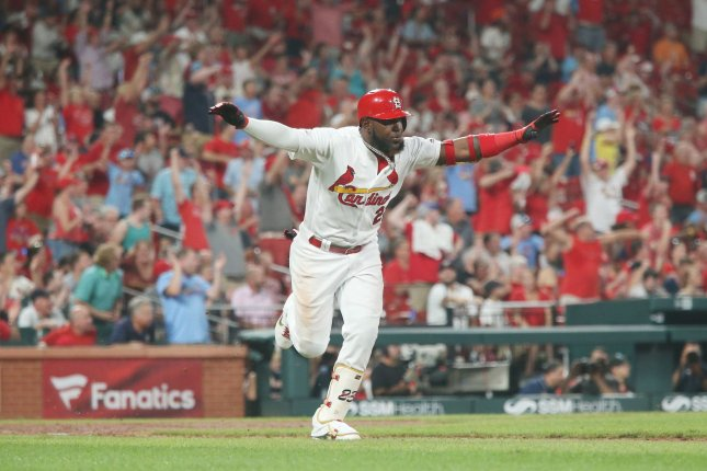St. Louis Cardinals outfielder Marcell Ozuna is now hitting .252 with 28 home runs and 86 RBIs this season. Photo by Bill Greenblatt/UPI