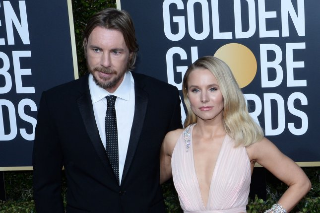 Dax Shepard (L), pictured with Kristen Bell, said he's seven days sober after abusing prescription pills. File Photo by Jim Ruymen/UPI