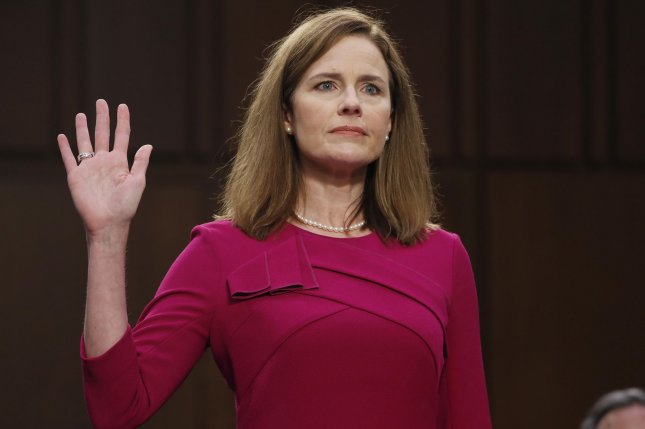 Supreme Court nominee Judge Amy Coney Barrett is sworn in during her confirmation hearing before the Senate Judiciary Committee on Capitol Hill in Washington D.C., on Monday. Pool Photo by Shawn Thew/UPI