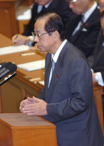 Japan's Prime minister Yasuo Fukuda participates in the party's head debate with Ichiro Ozawa, President of the main opposition Democratic Party of Japan, at the Lower House in Tokyo, Japan, on January 9, 2008. (UPI Photo/Keizo Mori)