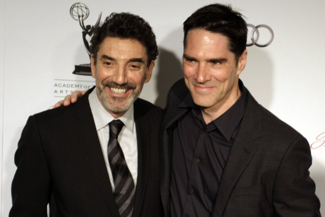 Producer Chuck Lorre and actor Thomas Gibson arrive for the Academy of Television Arts & Sciences 21st Annual Hall of Fame Ceremony at the Beverly Hills Hotel in Beverly Hills, California on March 1, 2012. UPI/Jonathan Alcorn