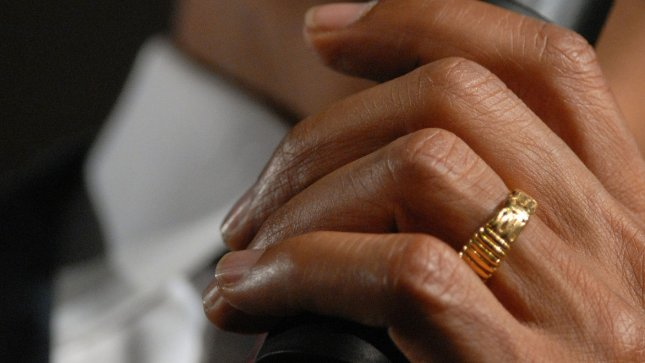 The Wedding Ring Worn By Presumptive Democratic Presidential Nominee Sen Barack D Il Is Seen While He Holds A Town Hall Style Meeting At Robinson