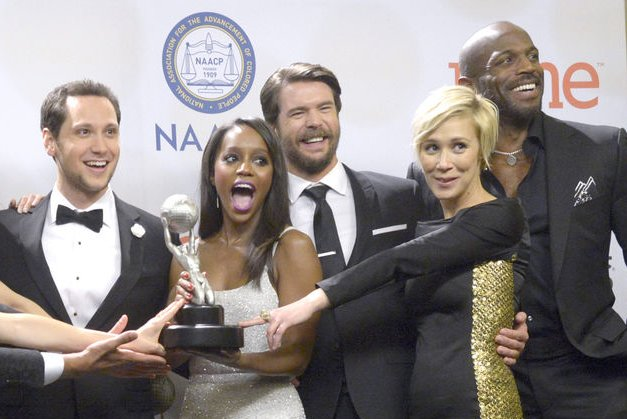 Matt McGorry, Aja Naomi King, Charlie Weber, Liza Weil and Billy Brown (L-R) of How to Get Away with Murder attend the NAACP Image Awards on February 6, 2015. Weil's rep confirmed Wednesday that the actress is seeing Weber. File Photo by Phil McCarten/UPI