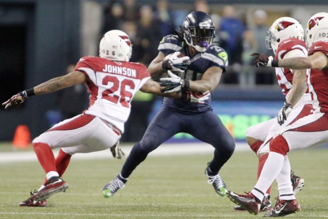 Former Seattle Seahawks running back Marshawn Lynch (24) led the NFL with 25 rushing touchdowns from 2013 through 2014. File Photo by Jim Bryant/UPI