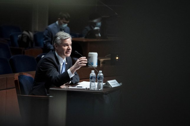 FBI Director Christopher Wray testifies Thursday before the House Judiciary Committee at the U.S. Capitol in Washington D.C.. Photo by Sarah Silbiger/UPI