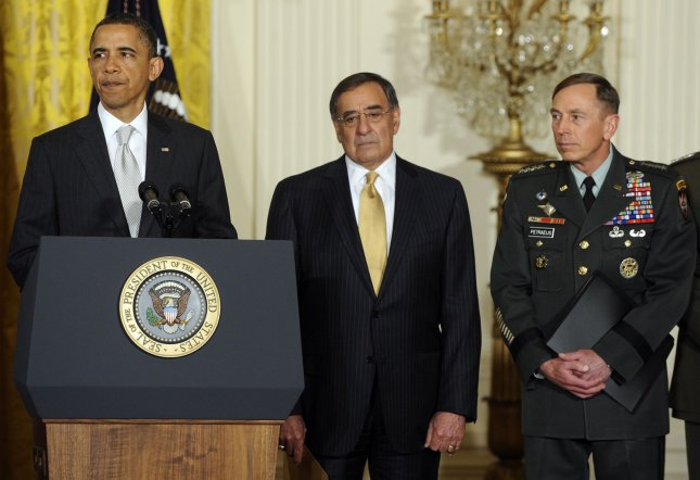 U.S. President Barack Obama announces shifts in military and intelligence leadership in the East Room of the White House in Washington, DC, on April 27, 2011. Obama announced CIA Director Leon Panetta (C) to replace Robert Gibbs as Defense Secretary and Gen. David Petraeus (R) will replace Panetta at the CIA. UPI/Roger L. Wollenberg