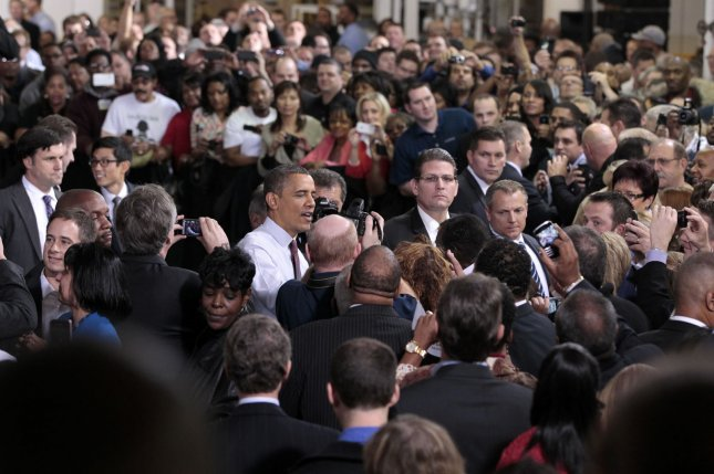 President Barack Obama after speaking to workers at the Daimler Detroit Diesel plant in Redford, Michigan on December 10, 2012. Michigan was one of two states that lost population in the year ending July 1, 2014. UPI/Jeff Kowalsky