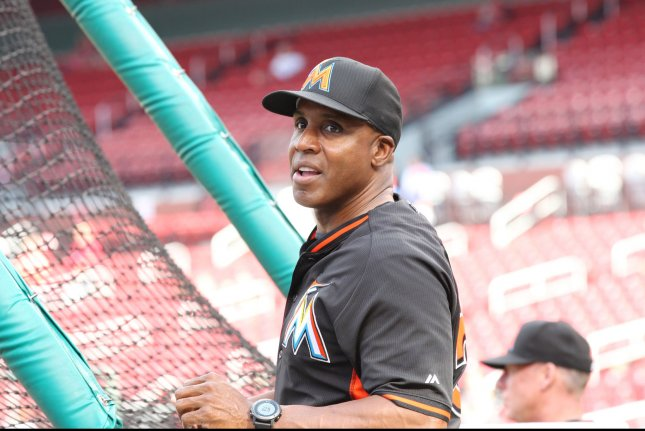 Miami Marlins batting coach Barry Bonds watches batting practice before a game against the St. Louis Cardinals at Busch Stadium at Busch Stadium in St. Louis on July 15, 2016. Photo by Bill Greenblatt/UPI