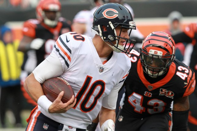 Chicago Bears quarterback Mitchell Trubisky (10) runs the football for the touchdown against the Cincinnati Bengals during the second half of play on December 10 at Paul Brown Stadium in Cincinnati, Ohio. Photo by John Sommers II/UPI