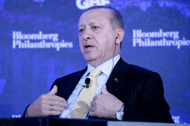A spokesman for Turkish President Recep Tayyip Erdogan, pictured here, condemned plans by the U.S.-led coalition to establish a 30,000-member Syrian Border Security Force as concerning. Photo by John Angelillo/UPI