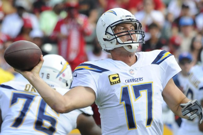 Philip Rivers and the Los Angeles Chargers face the Oakland Raiders on Sunday. Photo by Lori Shepler/UPI