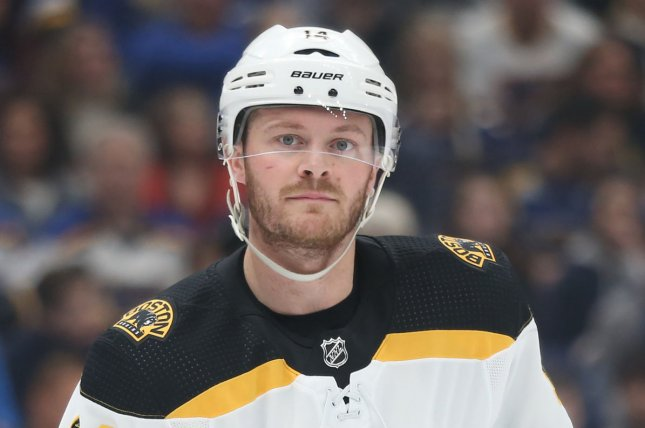 Boston Bruins forward Chris Wagner scored a goal in the second period during the Bruins' 2-1 win over the Carolina Hurricanes on Tuesday night. File Photo by Bill Greenblatt/UPI