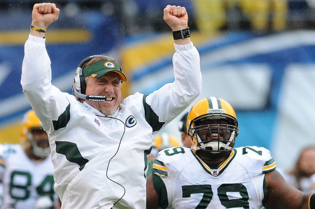 Pro Football Hall of Famer Kevin Greene (L) coached for the Green Bay Packers and New York Jets after his retirement from playing. File Photo by Jayne Kamin-Oncea/UPI