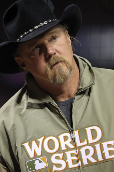 Trace Adkins is seen on the field after singing the national anthem before game 2 of the World Series between the Texas Rangers and the St. Louis Cardinals in St. Louis on October 20, 2011. The Cardinals lead the series 1-0. UPI/Jamie Squire/Pool