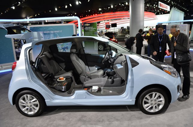A cut-away display shows the inside of a 2014 Chevrolet Spark EV at the 2013 North American International Auto Show in Detroit on January 14, 2013. The EV model of the Spark is a 100 percent electric vehicle. UPI/Brian Kersey