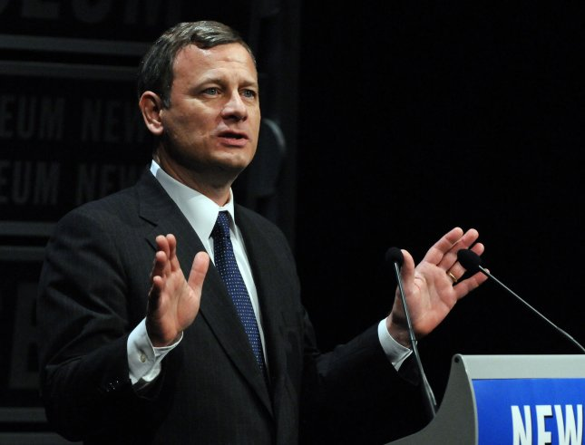 Supreme Court Chief Justice John Roberts participates in the dedication of the Newseum in Washington on April 11, 2008. (UPI Photo/Roger L. Wollenberg)