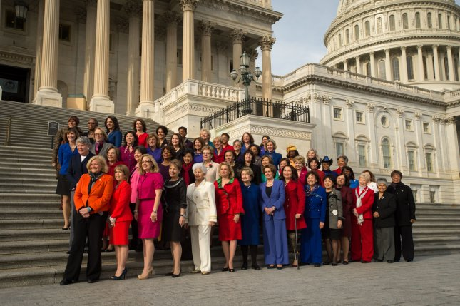 House Minority Leader Nancy Pelosi, with the Democratic women of the House pose for a photo opportunity highlighting the historic diversity of the House Democratic Caucus in the 113th Congress and celebrating the increased number of women joining the Democratic Caucus January 3, 2013 in Washington D.C. UPI/Ken Cedeno