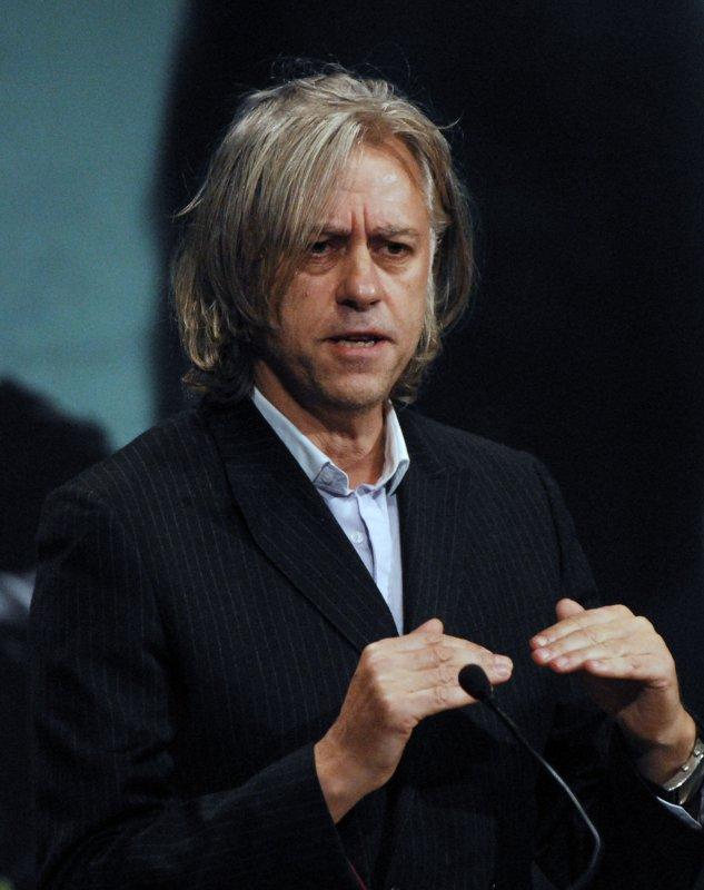 Musician and philanthropist Bob Geldof speaks at the White House Summit on International Development, Sustaining the New Era, in Washington on October 21, 2008 (UPI Photo/Alexis C. Glenn)