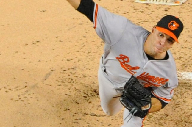 Baltimore Orioles starting pitcher Ubaldo Jimenez (31) pitches against the Washington Nationals in the fourth inning at Nationals Park in Washington, D.C. on September 22, 2015. Photo by Mark Goldman/UPI