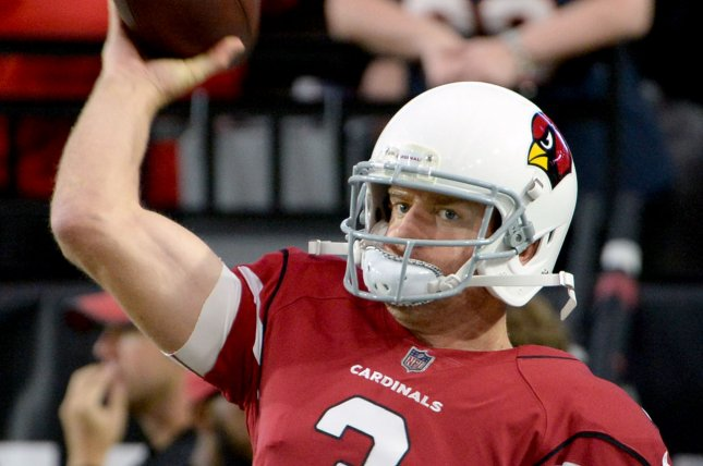 Arizona Cardinals' starting quarterback Carson Palmer warms up before the start of the Cardinals-Chicago Bears game at the University of Phoenix Stadium in Glendale, Arizona, on August 19, 2017. File photo by Art Foxall/UPI