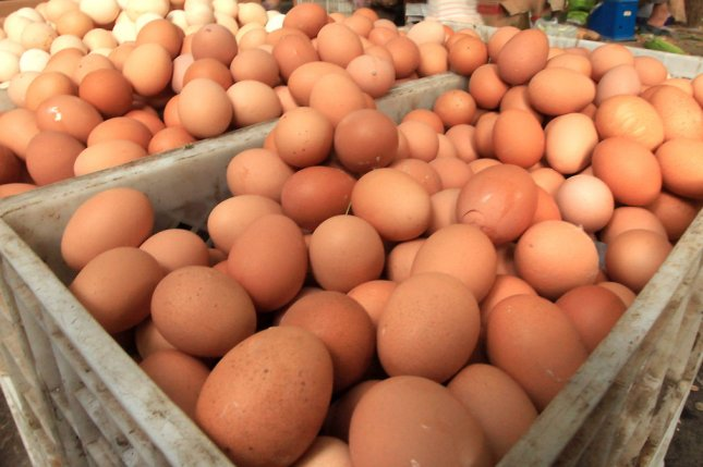 Gravel Ridge Farms has issued a recall for some of its cage-free eggs after 14 cases of salmonella poisoning were reported in the United States. File Photo by Stephen Shaver/UPI