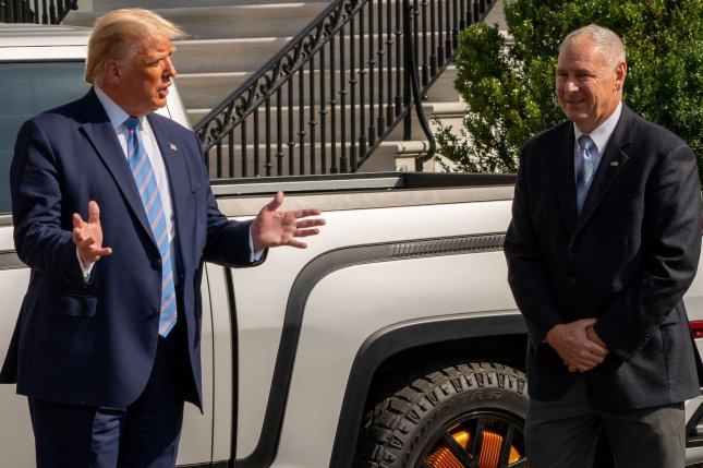 Lordstown Motors CEO Steve Burns (R) resigned today. He is pictured here with former president Donald Trump posing with a new Lordstown Motors 2021 Endurance electric pickup on the South Lawn of the White House on Monday, September 28, 2020, in Washington D.C. Photo by Ken Cedeno/UPI