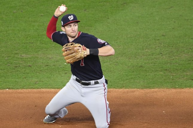 Washington Nationals shortstop Trea Turner, shown Oct. 30, 2019, was pulled from Tuesday night's game against the Philadelphia Phillies in the first inning due to the positive COVID-19 test. File Photo by Kevin Dietsch/UPI