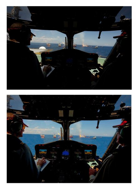 BP has confirmed that it altered a photograph that shows the Gulf of Mexico oil spill site from a view of a cockpit of a helicopter on July 22, 2010. The photograph was taken by BP on June 26, 2010, and is one of at least three images that have been altered. The top picture is the original showing the helicopter on the deck of a ship, and the bottom image is the altered version that removes the deck of the ship to indicate that the helicopter was flying. UPI/HO