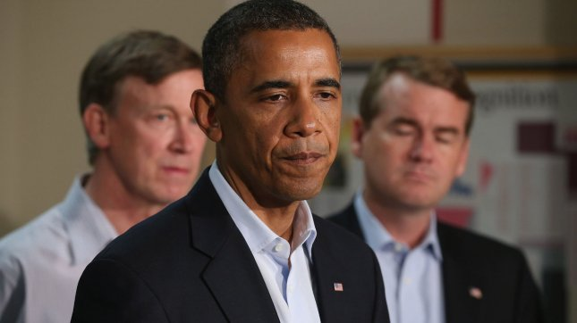 U.S. President Barack Obama speaks during a visit to the University of Colorado Hospital July 22, 2012 in Aurora, Colorado. Obama traveled to the University of Colorado Hosptial to meet with victims of last Friday's movie theater mass shooting. Police in Aurora, a suburb of Denver, say that James Holmes, 24, in custody after he is suspected of killing 12 people and injuring 59 during a midnight screening of 'The Dark Knight Rises' last Friday. UPI/Chip Somodevilla/Pool