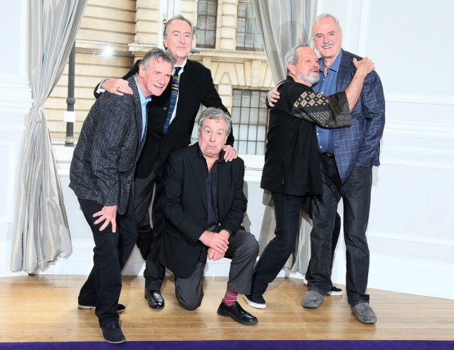 The Monty Python gang of (L-R) Michael Palin, Eric Idle,Terry Jones, Terry Gilliam and John Cleese attend a photocall to publicize a a reunion show at the Corinthia Hotel in London, Thursday, November 21, 2013. The event at London's O2 arena is billed as a single event, but they say other shows are possible. UPI/Hugo Philpott