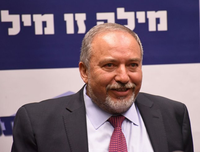 Knesset member, Avigdor Lieberman, head of the Yisrael Beiteinu Party, speaks to the press during his party's meeting in the Israeli Knesset in Jerusalem, Israel, May 23. Photo by Debbie Hill/UPI