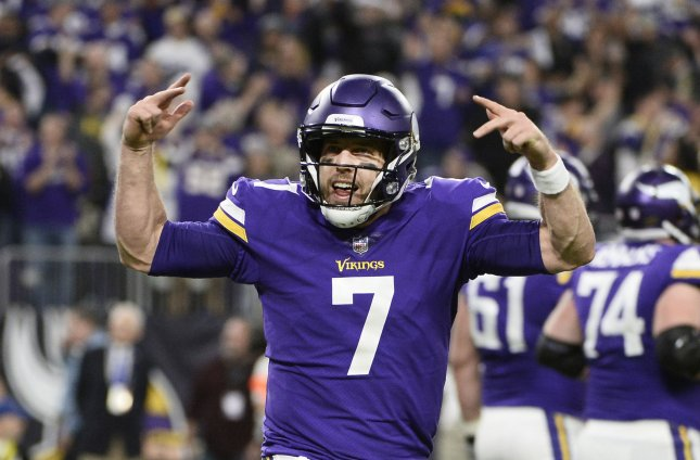 Case Keenum and the Minnesota Vikings visit the Philadelphia Eagles to vie for the NFC championship Sunday. Photo by Brian Kersey/UPI
