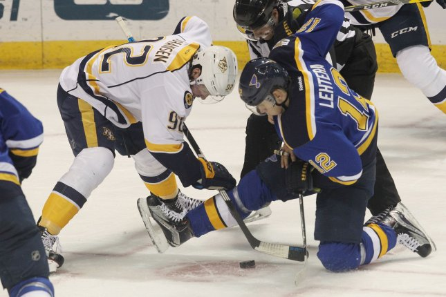 Nashville Predators center Ryan Johansen (92) fights for the puck after a faceoff in the first period on December 30, 2016 at the Scottrade Center in St. Louis. File photo by Bill Greenblatt/UPI