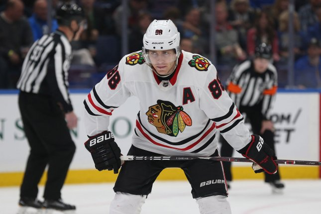 Patrick Kane and the Chicago Blackhawks face the Florida Panthers on Sunday. Photo by Bill Greenblatt/UPI