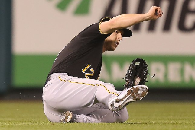 Pittsburgh Pirates Corey Dickerson is going to miss up to a month with a strained shoulder. File Photo by Bill Greenblatt/UPI