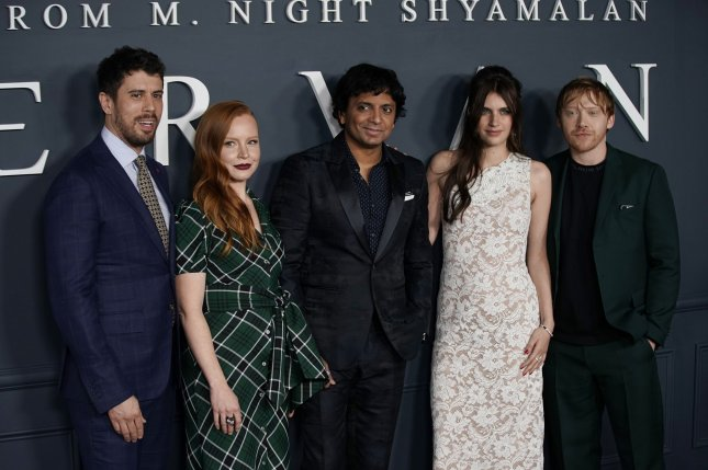 Left to right, Toby Kebbell, Lauren Ambrose, M. Night Shyamalan, Nell Tiger Free and Rupert Grint arrive at the world premiere of Apple TV+'s Servant  on November 19 in New York City. Photo by John Angelillo/UPI