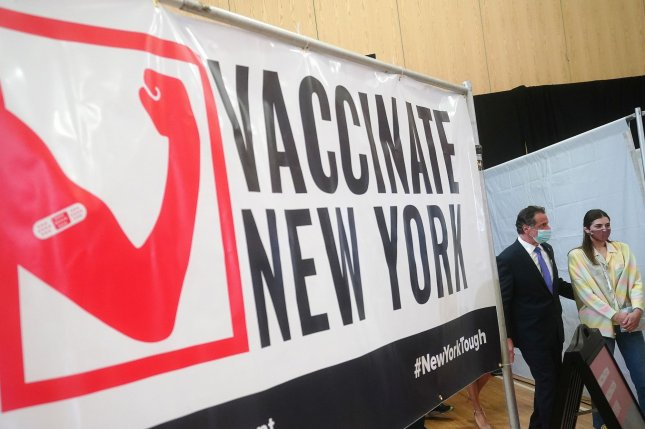 New York Gov. Andrew Cuomo is seen arriving at an event to introduce a COVID-19 testing and vaccine verification program, in Manhattan, New York City, on March 26. Photo by Carlo Allegri/UPI/Pool