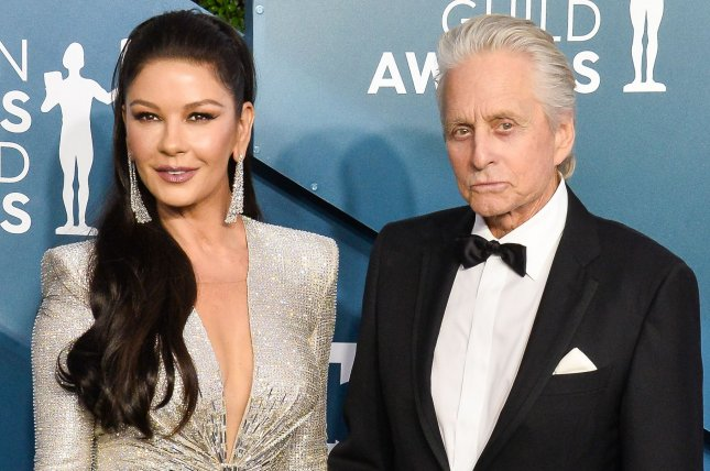 Michael Douglas (R) and his wife Catherine Zeta-Jones arrive for the 26th annual SAG Awards in January 2020. Douglas talked about his experience working on Ant-Man films on The Tonight Show. File Photo by Jim Ruymen/UPI