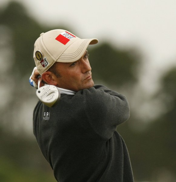 Markus Brier, shown in a 2007 file photo, owns the lead halfway through the European Tour's Qatar Open after shooting a 6-under-par 66 Friday. (UPI Photo/Hugo Philpott)