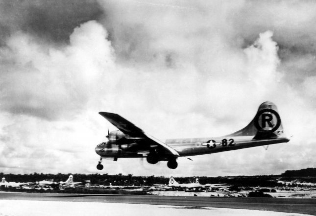 U.S. B-29s conducted a massive raid on Tokyo March 9, 1945. The attack killed tens of thousands of people. (This picture shows the B-29 Enola Gay preparing to land on the island of Tinian in the Pacific after dropping an atomic bomb on the Japanese city of Hiroshima Aug. 6, 1945.)