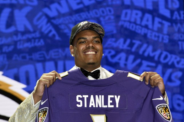 Notre Dame offensive tackle Ronnie Stanley holds his jersey after being selected by the Baltimore Ravens with the sixth overall pick in the 2016 NFL Draft on April 28, 2016 in Chicago. Photo by Brian Kersey/UPI