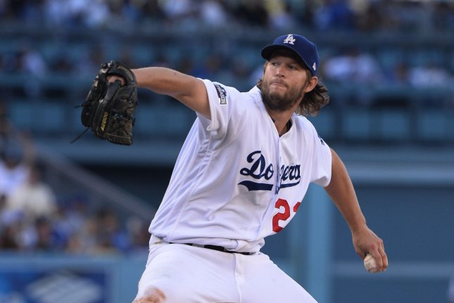 Los Angeles Dodgers starting pitcher Clayton Kershaw (22) throws a pitch. Kershaw was masterful against the Diamondbacks with a near-shutout game. File photo by Jim Ruymen/UPI