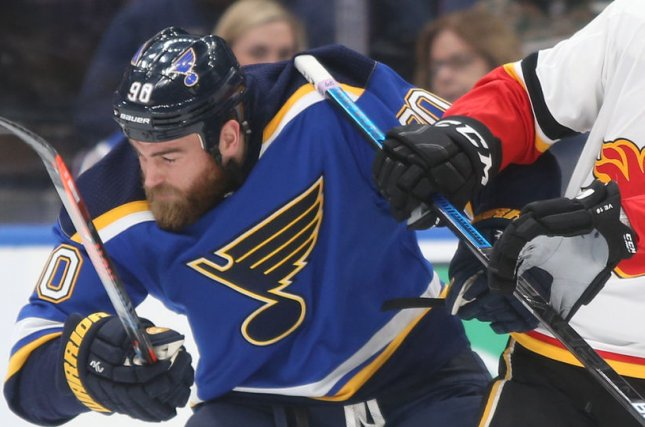 Ryan O'Reilly and the St. Louis take on the Buffalo Sabres on Thursday. Photo by Bill Greenblatt/UPI