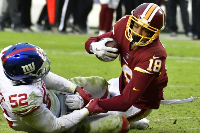 Former Washington Redskins wide receiver Josh Doctson (18) had 532 yards and two scores in 15 games last season. File Photo by David Tulis/UPI