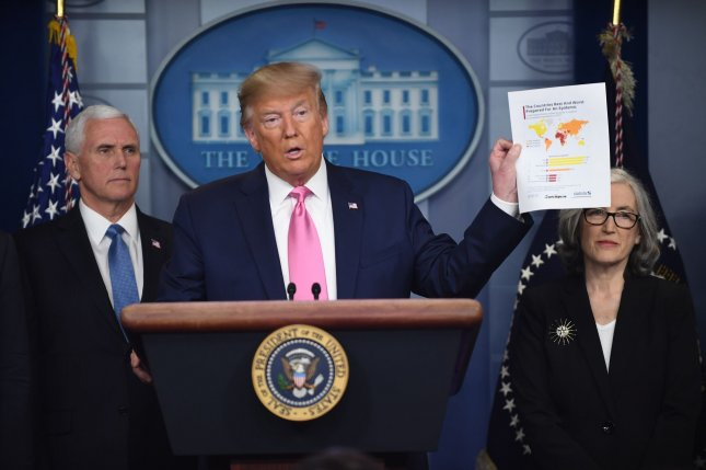 In a new book by Bob Woodward, President Donald Trump is quoted as saying he knew COVID-19 was deadly as early as late January, but decided to downplay the seriousness to the American public. File Photo by Pat Benic/UPI
