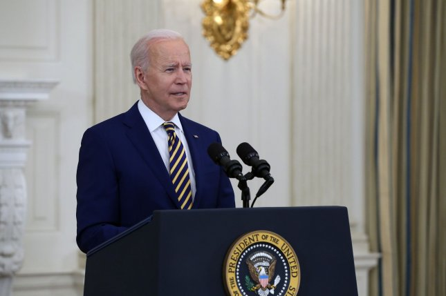 President Joe Biden gives an update on the COVID-19 response and vaccination program during an address at the White House on Friday. Photo by Tasos Katopodis/UPI
