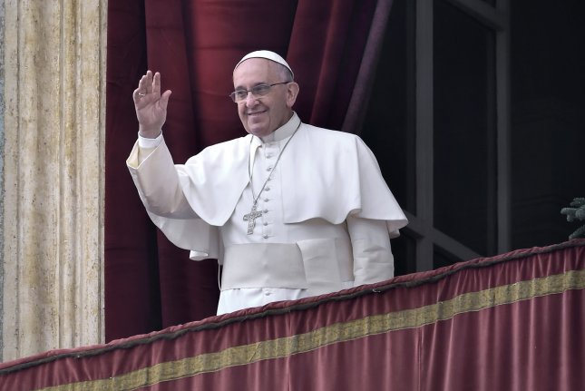 Pope Francis told an Argentinian newspaper, La voz del pueblo, he has not watched television since 1990, misses going out for pizza and values the company of other people. File Photo by UPI/Stefano Spaziari.
