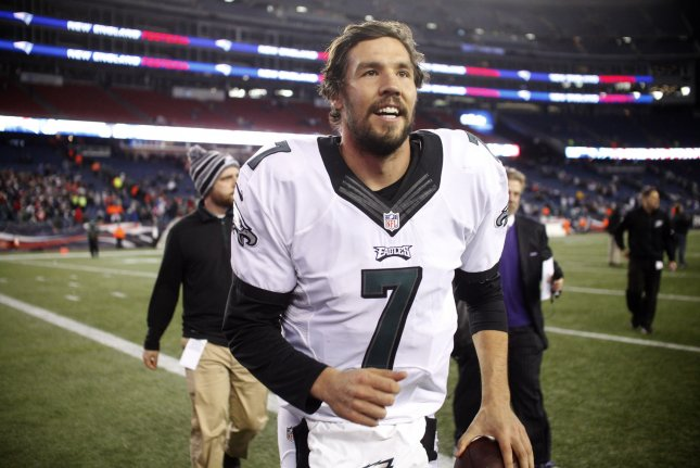 Philadelphia Eagles quarterback Sam Bradford (7) smiles as he runs off the field after the Eagles defeated the New England Patriots at Gillette Stadium in Foxborough, Massachusetts on December 6, 2015. The Eagles defeated the Patriots 35-28. Photo by Matthew Healey/ UPI