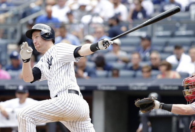 Todd Frazier and the New York Yankees outlasted the Toronto Blue Jays on Saturday. Photo by John Angelillo/UPI